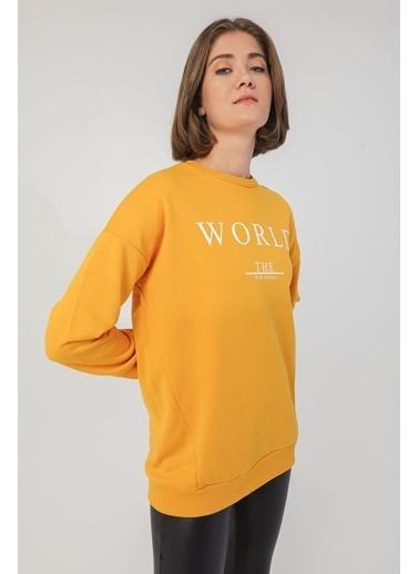 Modaset Yazı Baskılı Oversize Sweatshirt Hardal Hardal